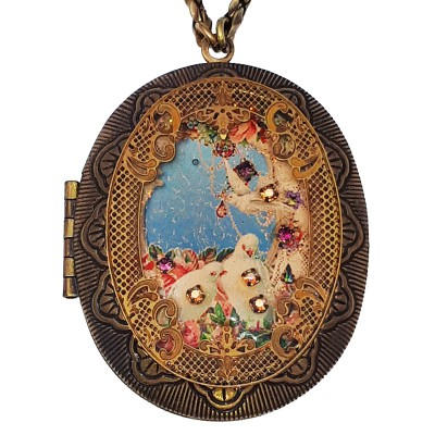 Michal Negrin Doves Large Filigree Locket Necklace