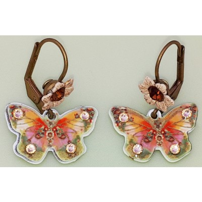 Michal Negrin Peach Butterfly Flower Earrings