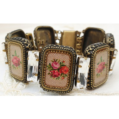 Michal Negrin Rectangle Roses Cameos Bracelet