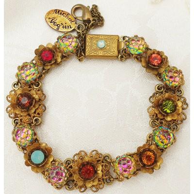 Michal Negrin Multicolor Crystals Gold Flowers Bracelet