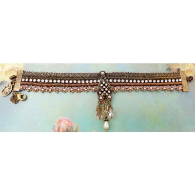 Michal Negrin Gold Pearl Lace Strands Crystal Bracelet
