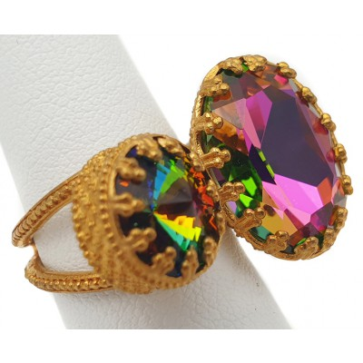 Michal Negrin Watermelon Double Crystal Ring