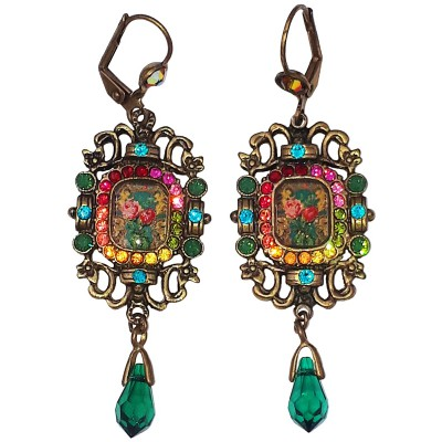 Michal Negrin Multicolor Victorian Roses Cameo Earrings