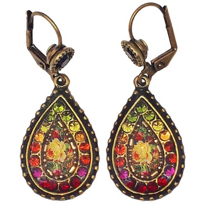 Michal Negrin Multicolor Roses Teardrop Earrings
