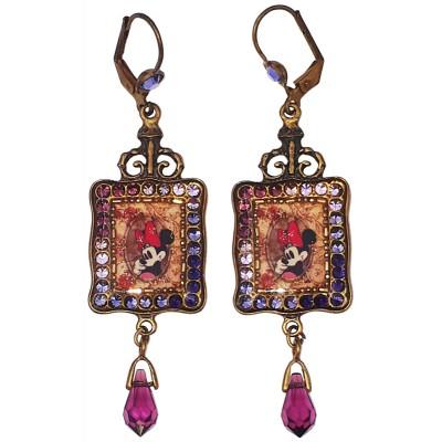 Michal Negrin X Disney Minnie Mouse Purple Crystal Earrings