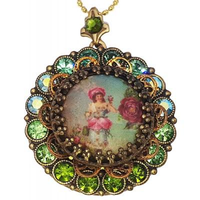 Michal Negrin Victorian Portrait Green Crystals Locket Necklace