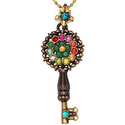 Michal Negrin Multicolor Crystals Key Necklace