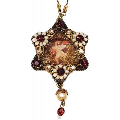 Michal Negrin Pearl Garnet Cherub Star Necklace