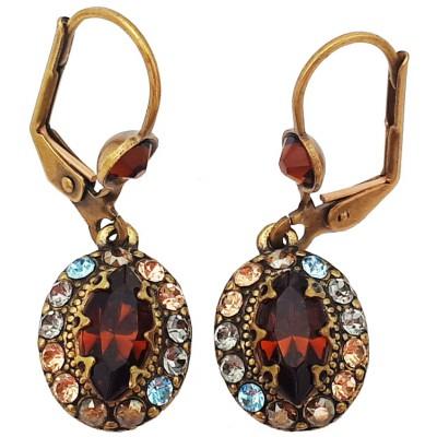 Michal Negrin Bronze Oval Crystal Earrings