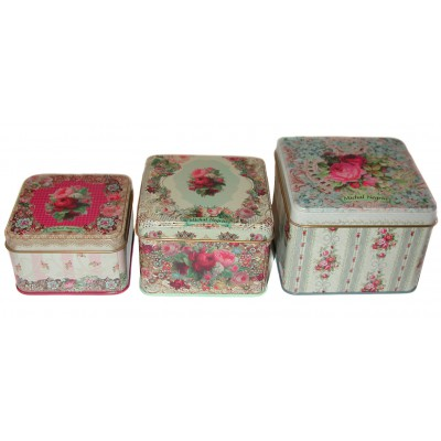 Michal Negrin Victorian Roses 3 Tin Boxes Set