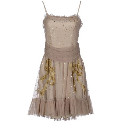 Red Valentino Taupe Tulle Sequins Dress