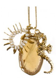 Amaro Gold Pearl Seahorse Agate Necklace