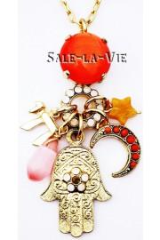 Amaro Good Luck Hamsa Charms Necklace