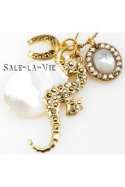 Amaro Mother of Pearl Seahorse Horseshoe Necklace