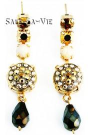 Amaro Peach Bronze Tone Crystal Earrings