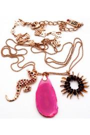 Amaro Pink Seahorse Agate Crystals Necklace