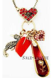 Amaro Red Hearts Seahorse Necklace