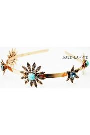 Amaro Turquoise Aqua Flowers Headband