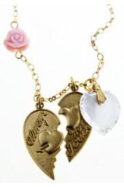 Amaro Vintage Heart Rose Necklace
