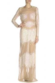 Blumarine Sheer White Sequins Maxi Dress