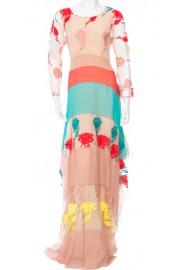 Blumarine Nude Multicolor Roses Maxi Dress