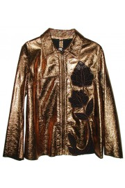 Blumarine Gold Leather Lace Jacket