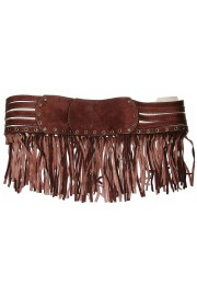 Blumarine Brown Suede Fringe Belt