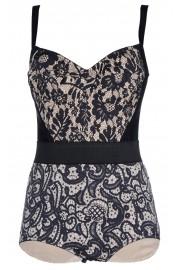 Dolce & Gabbana Black Printed Bodysuit