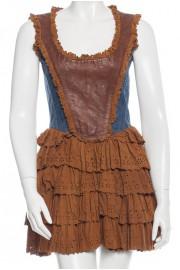 D&G Dolce & Gabbana Leather Suede Denim Mini Dress