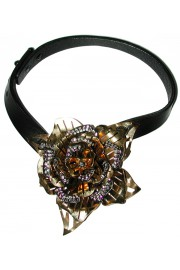 Lanvin Rose Crystal Leather Choker Necklace