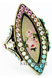 Michal Negrin Biconvex Pastel Roses Ring