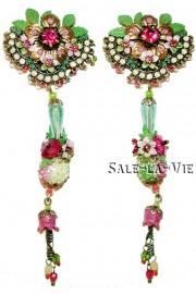 Michal Negrin Fuchsia Green Flowers Earrings