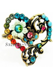 Michal Negrin Multicolor Crystal Heart Ring