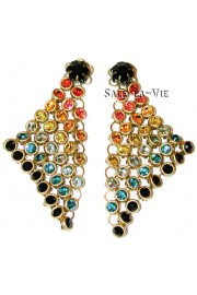 Michal Negrin Multicolor Crystals Mesh Earrings