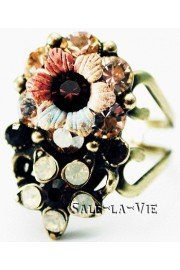 Michal Negrin Peach Garnet Crystal Flower Ring