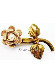 Michal Negrin Pearl Cream Rose Brooch