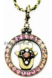 Michal Negrin Pink Peach Hamsa Circle Necklace