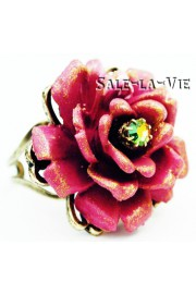 Michal Negrin Fuchsia Rose Crystal Ring