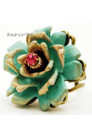 Michal Negrin Turquoise Fuchsia Rose Ring