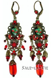 Michal Negrin Victorian Red Roses Earrings