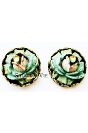 Michal Negrin Vintage Green Round Rose Stud Earrings