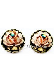 Michal Negrin Vintage Round Rose Stud Earrings