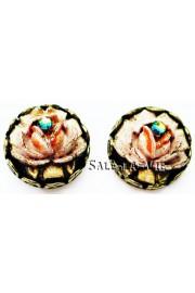 Michal Negrin Vintage Round Rose Stud Earrings