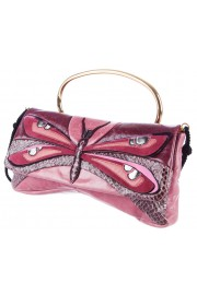 Miu Miu Pink Dragonfly Insect Leather Python Clutch Bag