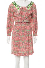 Miu Miu Printed Embellished Collar Dress