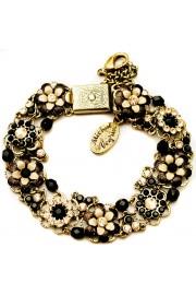 Michal Negrin Black Peach Crystal Flowers Bracelet