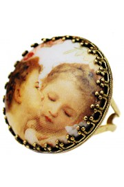 Michal Negrin Kissing Cherubs Round Cameo Ring