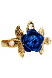 Michal Negrin Blue Rose and Leaves Ring