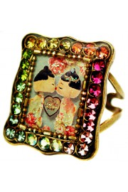 Michal Negrin Multicolor Dolls Kiss Rectangle Ring