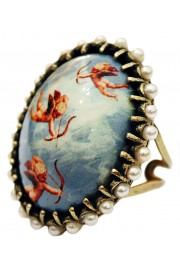 Michal Negrin Flying Cupids Pearls Cabochon Cameo Ring
